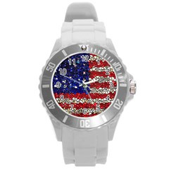 American Flag Mosaic Plastic Sport Watch (large) by bloomingvinedesign