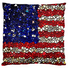 American Flag Mosaic Large Cushion Case (single Sided)  by bloomingvinedesign