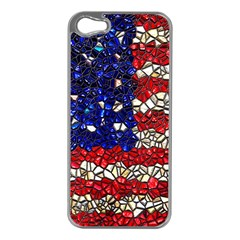 American Flag Mosaic Apple Iphone 5 Case (silver) by bloomingvinedesign