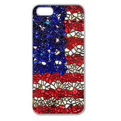 American Flag Mosaic Apple Seamless Iphone 5 Case (clear) by bloomingvinedesign
