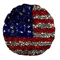 American Flag Mosaic 18  Premium Round Cushion  by bloomingvinedesign