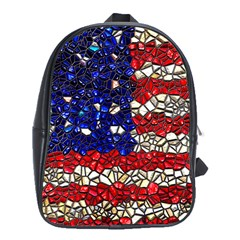 American Flag Mosaic School Bag (xl) by bloomingvinedesign