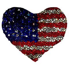 American Flag Mosaic 19  Premium Heart Shape Cushion by bloomingvinedesign