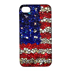 American Flag Mosaic Apple Iphone 4/4s Hardshell Case With Stand by bloomingvinedesign