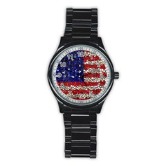 American Flag Mosaic Sport Metal Watch (black) by bloomingvinedesign