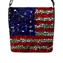 American Flag Mosaic Flap Closure Messenger Bag (large) by bloomingvinedesign