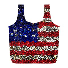 American Flag Mosaic Reusable Bag (l) by bloomingvinedesign