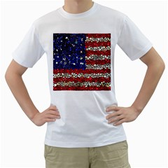American Flag Mosaic Men s T Shirt (white)  by bloomingvinedesign