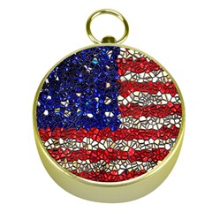 American Flag Mosaic Gold Compass by bloomingvinedesign