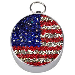 American Flag Mosaic Silver Compass by bloomingvinedesign