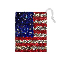 American Flag Mosaic Drawstring Pouch (medium) by bloomingvinedesign