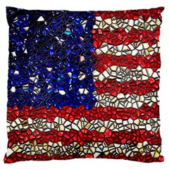 American Flag Mosaic Large Flano Cushion Case (two Sides) by bloomingvinedesign
