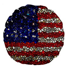 American Flag Mosaic 18  Premium Flano Round Cushion  by bloomingvinedesign