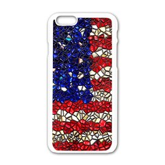 American Flag Mosaic Apple Iphone 6 White Enamel Case by bloomingvinedesign
