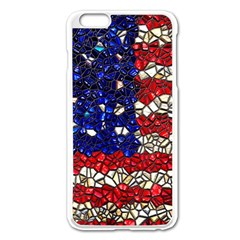 American Flag Mosaic Apple Iphone 6 Plus Enamel White Case by bloomingvinedesign