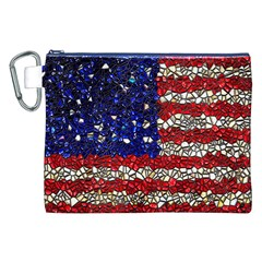 American Flag Mosaic Canvas Cosmetic Bag (xxl) by bloomingvinedesign