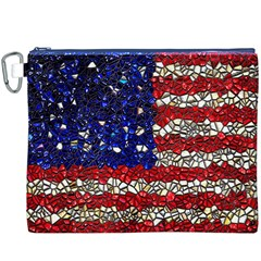 American Flag Mosaic Canvas Cosmetic Bag (XXXL) by bloomingvinedesign