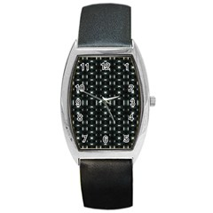 Futuristic Dark Hexagonal Grid Pattern Design Tonneau Leather Watch by dflcprints