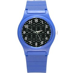 Futuristic Dark Hexagonal Grid Pattern Design Plastic Sport Watch (small) by dflcprints