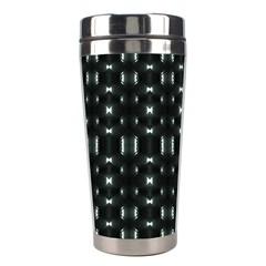Futuristic Dark Hexagonal Grid Pattern Design Stainless Steel Travel Tumbler by dflcprints