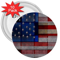 American Flag Quilt 3  Button (10 Pack) by bloomingvinedesign