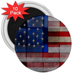 American Flag Quilt 3  Button Magnet (10 Pack) by bloomingvinedesign