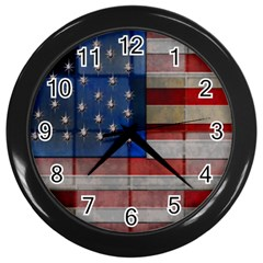 American Flag Quilt Wall Clock (black) by bloomingvinedesign