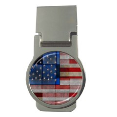 American Flag Quilt Money Clip (round) by bloomingvinedesign
