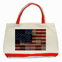 American Flag Quilt Classic Tote Bag (red) by bloomingvinedesign