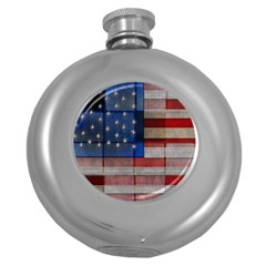 American Flag Quilt Hip Flask (Round) by bloomingvinedesign