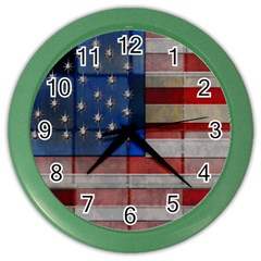 American Flag Quilt Wall Clock (color) by bloomingvinedesign
