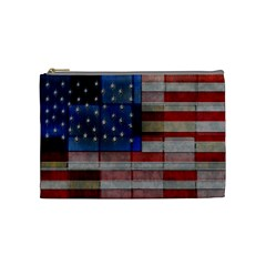 American Flag Quilt Cosmetic Bag (medium) by bloomingvinedesign