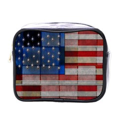American Flag Quilt Mini Travel Toiletry Bag (one Side) by bloomingvinedesign