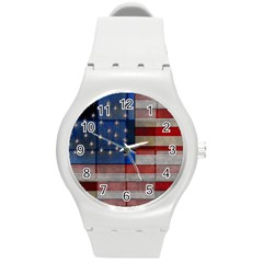 American Flag Quilt Plastic Sport Watch (medium) by bloomingvinedesign