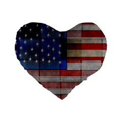 American Flag Quilt 16  Premium Flano Heart Shape Cushion  by bloomingvinedesign
