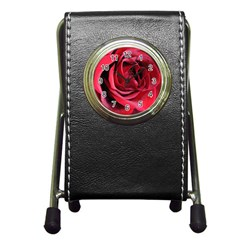 An Open Rose Stationery Holder Clock by bloomingvinedesign