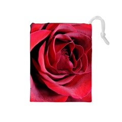 An Open Rose Drawstring Pouch (medium)