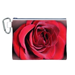 An Open Rose Canvas Cosmetic Bag (large) by bloomingvinedesign
