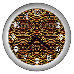 Tribal Art Abstract Pattern Wall Clock (silver) by dflcprints