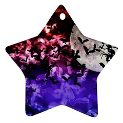 Bokeh Bats In Moonlight Star Ornament