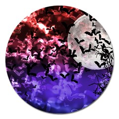 Bokeh Bats In Moonlight Magnet 5  (round) by bloomingvinedesign