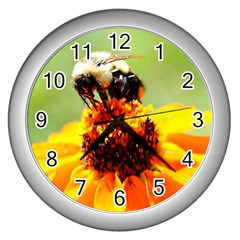 Bee On A Flower Wall Clock (silver) by bloomingvinedesign