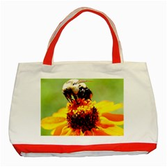 Bee On A Flower Classic Tote Bag (red) by bloomingvinedesign