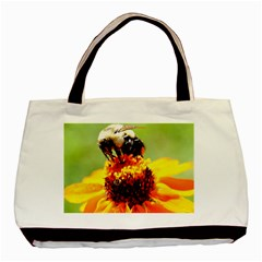 Bee On A Flower Twin Sided Black Tote Bag by bloomingvinedesign
