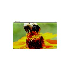 Bee On A Flower Cosmetic Bag (small) by bloomingvinedesign