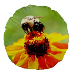 Bee On A Flower 18  Premium Round Cushion  by bloomingvinedesign