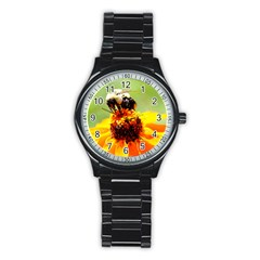 Bee On A Flower Sport Metal Watch (black) by bloomingvinedesign