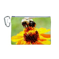 Bee On A Flower Canvas Cosmetic Bag (medium) by bloomingvinedesign
