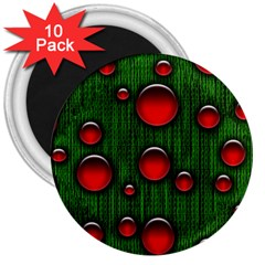 Geek Binary Digital Christmas 3  Button Magnet (10 Pack) by bloomingvinedesign
