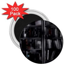 Black White Book Shelves 2 25  Button Magnet (100 Pack) by bloomingvinedesign